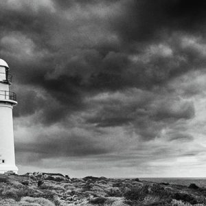 Corny Point Lighthouse and storm clouds