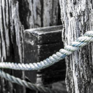 Blue Rope on gray Pylons