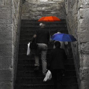 colourful red and blue umbrellas.