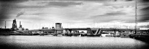 striking shape of bridge at Port Adelaide