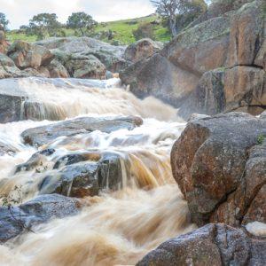 cascading water down Mannum Waterfalls