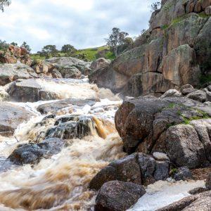 Flood waters Mannum Falls